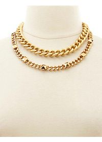 Textured & Studded Chain Necklace