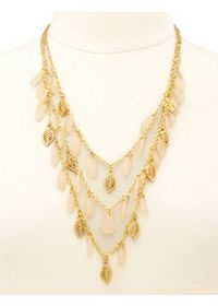 Layered Bead & Leaf Statement Necklace