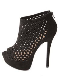 Laser Cut-Out Peep Toe Platform Heels