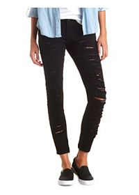 Zipper-Cuff Destroyed Black Skinny Jeans