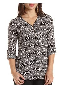 Zip-Up Pocket Tunic Top