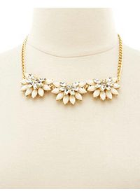 Jeweled Half Flower Collar Necklace