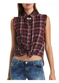 Tie-Front Sleeveless Button-Up Plaid Top