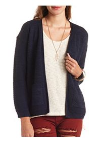 Textured Open Front Pocket Cardigan Sweater