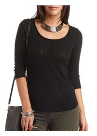 Lightweight Ribbed Double Scoop Top