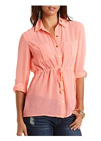 Chiffon Button-Up Tunic Top