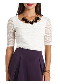 Lace Allover Short Sleeve Zip Back Shirt