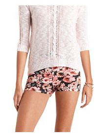 High-Waisted Floral Print Bike Shorts