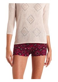 High-Waisted Tribal Print Bike Shorts