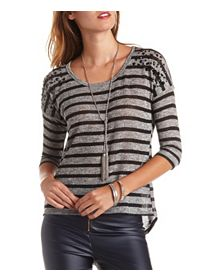 Button-Up Back Striped Rhinestone Sweater