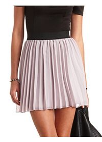 Accordion-Pleated Chiffon Skater Skirt