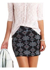 Tribal Medallion Print Bodycon Mini Skirt