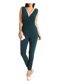 Cowl-Back Sleeveless Surplice Jumpsuit