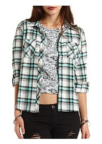 Lace Cut-Out Plaid Button-Up Top