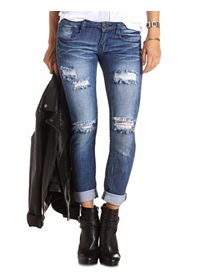 Low Rise Destroyed Skinny Boyfriend Jeans