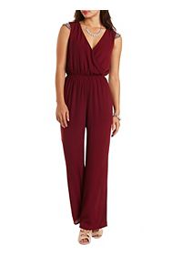 Beaded Cap Sleeve Chiffon Jumpsuit