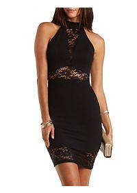 Lace Trim Bodycon Halter Dress