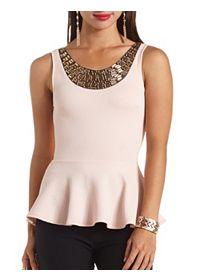 Gem Necklace Textured Peplum Top