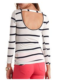 Long Sleeve Ruched & Striped Tunic Top