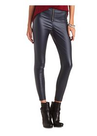 Zip-Up Coated High-Waisted Skinny Pants