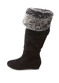 Faux Fur-Cuffed Knee-High Boots