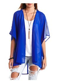 Strappy Lattice-Back Chiffon Duster Kimono Top