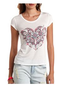 Rhinestone Floral Scroll Graphic Tee