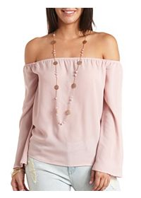 Off-the-Shoulder Bell Sleeve Chiffon Top