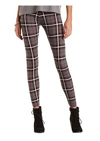 Cotton Plaid Print Leggings