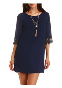 Lace Cuff Chiffon Shift Dress