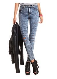 Slashed High-Waisted Acid Wash Skinny Jeans