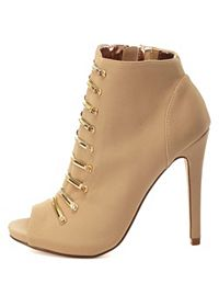 Dollhouse Gold-Barred Peep Toe Booties