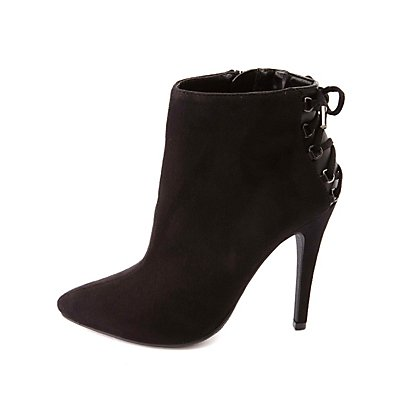 Back-Laced High Heel Pointed Toe Booties