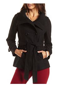 Belted Convertible Collar Pea Coat