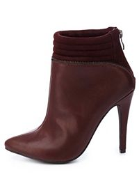 Quilted Zipper-Trim Pointed Toe Booties