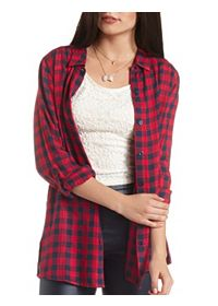 Button-Up Plaid Tunic Top