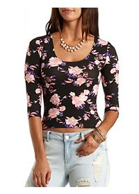 Three-Quarter Sleeve Floral Crop Top