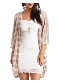 Sheer Striped Cocoon Duster Cardigan