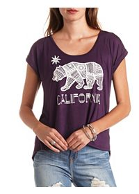 Rhinestone California Bear Graphic Flyaway Tee