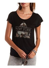 Rhinestone New York Ruched Graphic Tee