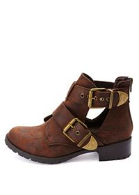 Double Belted Lug Sole Cut-Out Ankle Boots