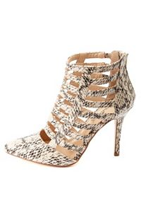 Python Print Strappy Caged Heels
