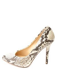 Python Print Almond Toe Single Sole Pumps