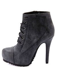 Burnished Lace-Up High Heel Combat Booties