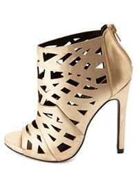 Metallic Laser Cut-Out Peep Toe Booties