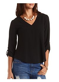Deep V Textured Tunic Top
