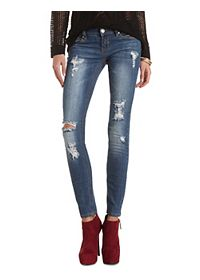 Destroyed Low Rise Skinny Jeans