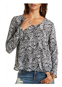 Paisley Print Chiffon Button-Up Top