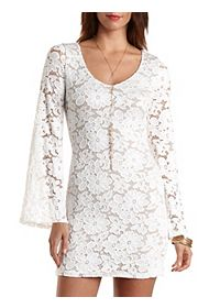 Bell Sleeve Bodycon Lace Dress