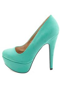Qupid Round Toe Platform Pumps
